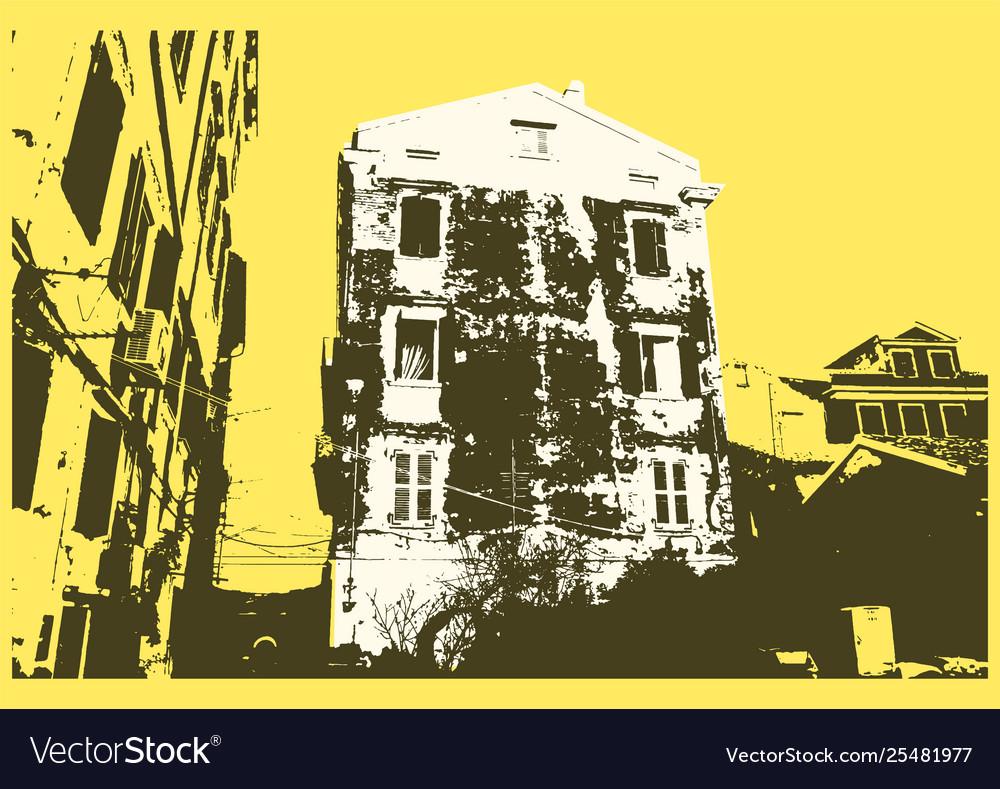 Old city typographic vintage poster design