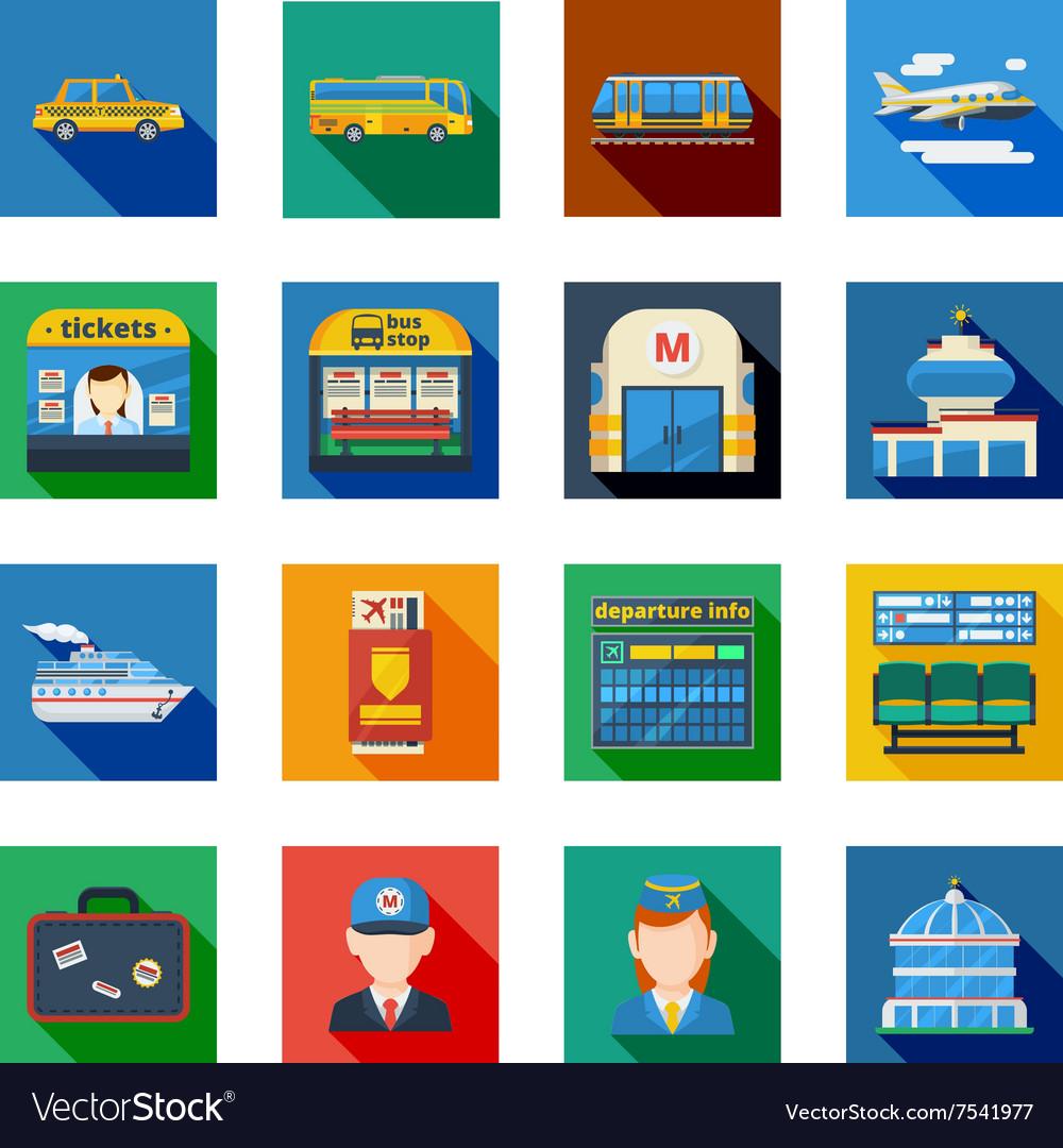 Passenger Transportation Flat Square Icons
