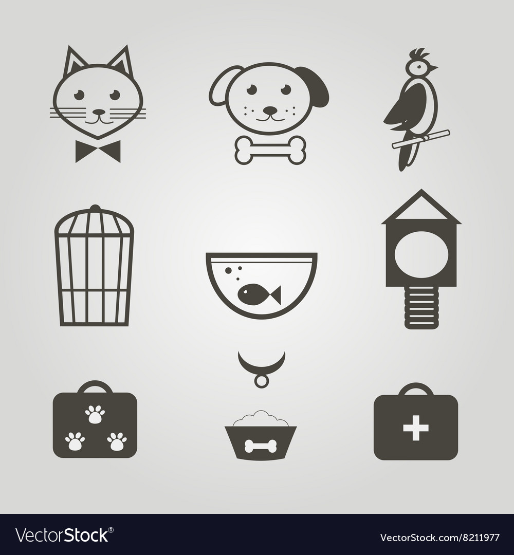 Pets icons Set of pets shop symbols isolated