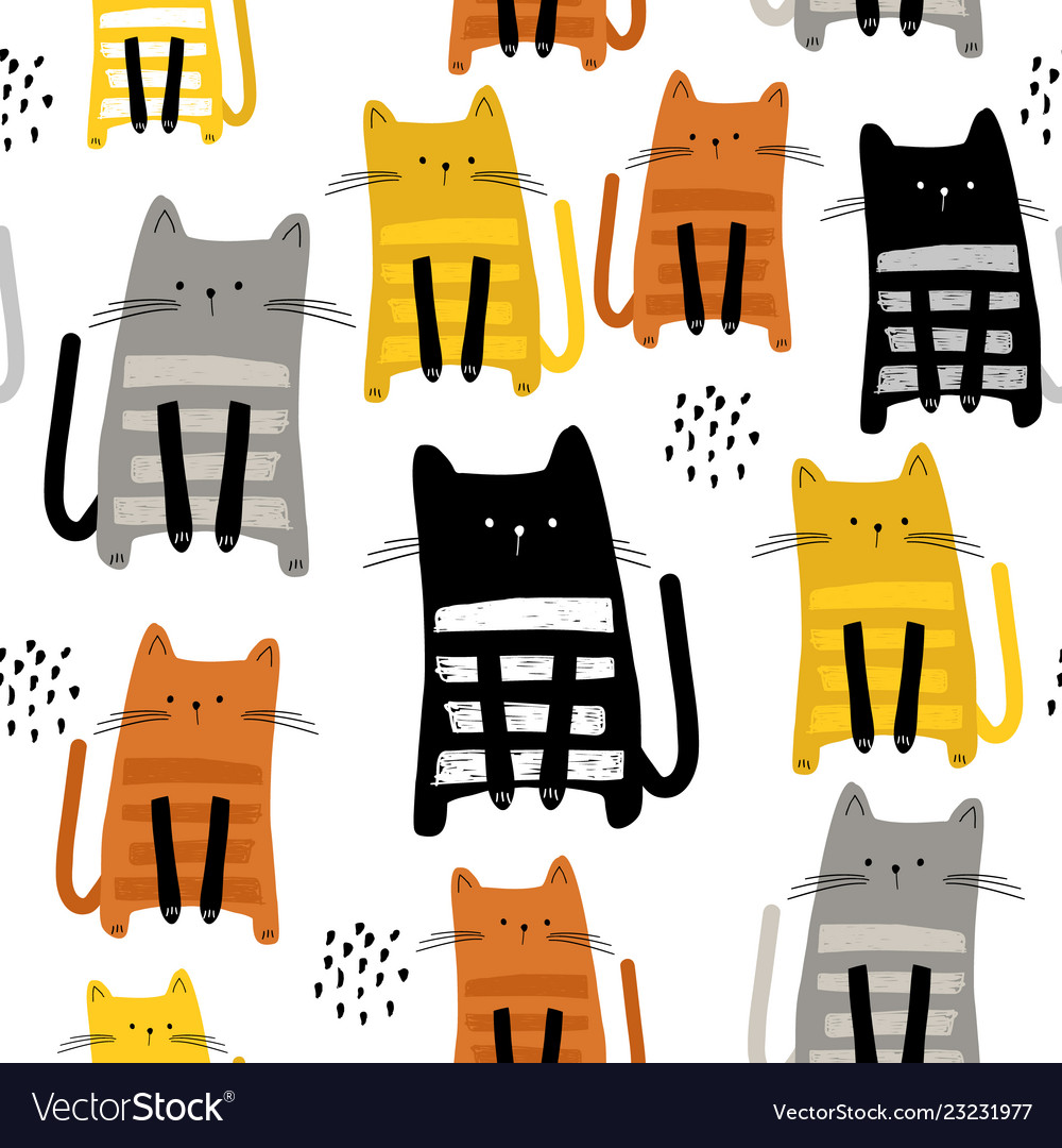Seamless pattern with cute kittens in diferent