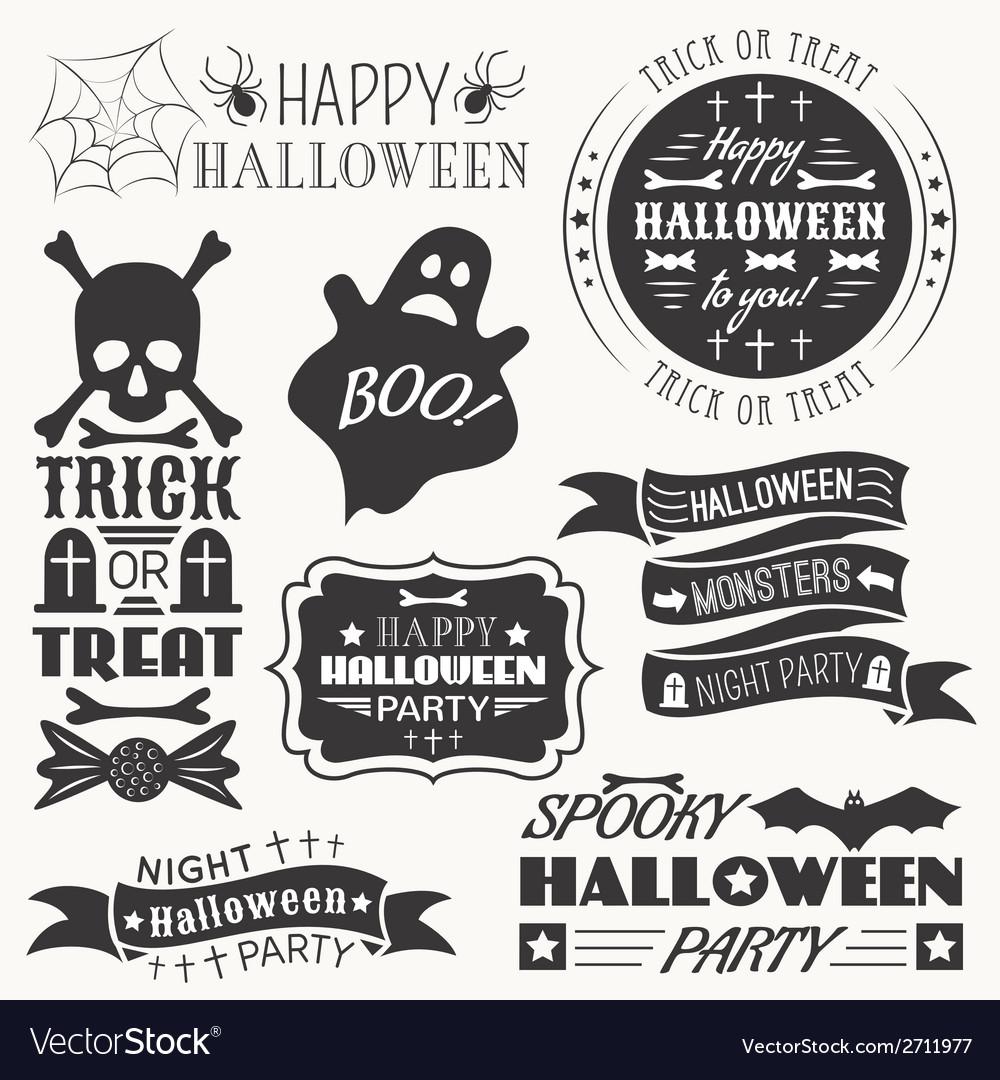 Set of halloween decorative elements