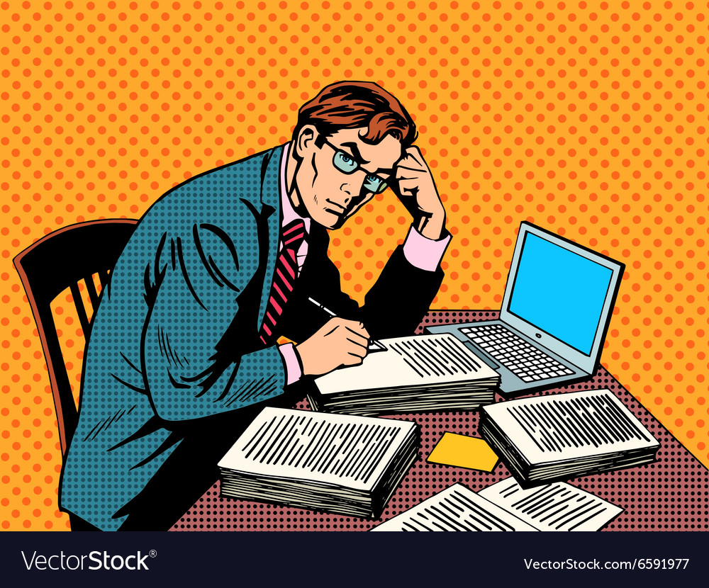 Writer editor journalist academic thesis paper vector image