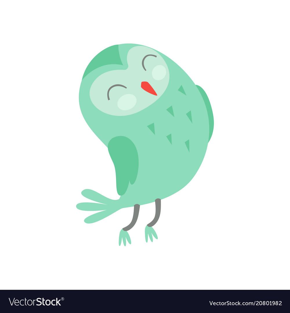 Cute funny cartoon green owlet bird character with