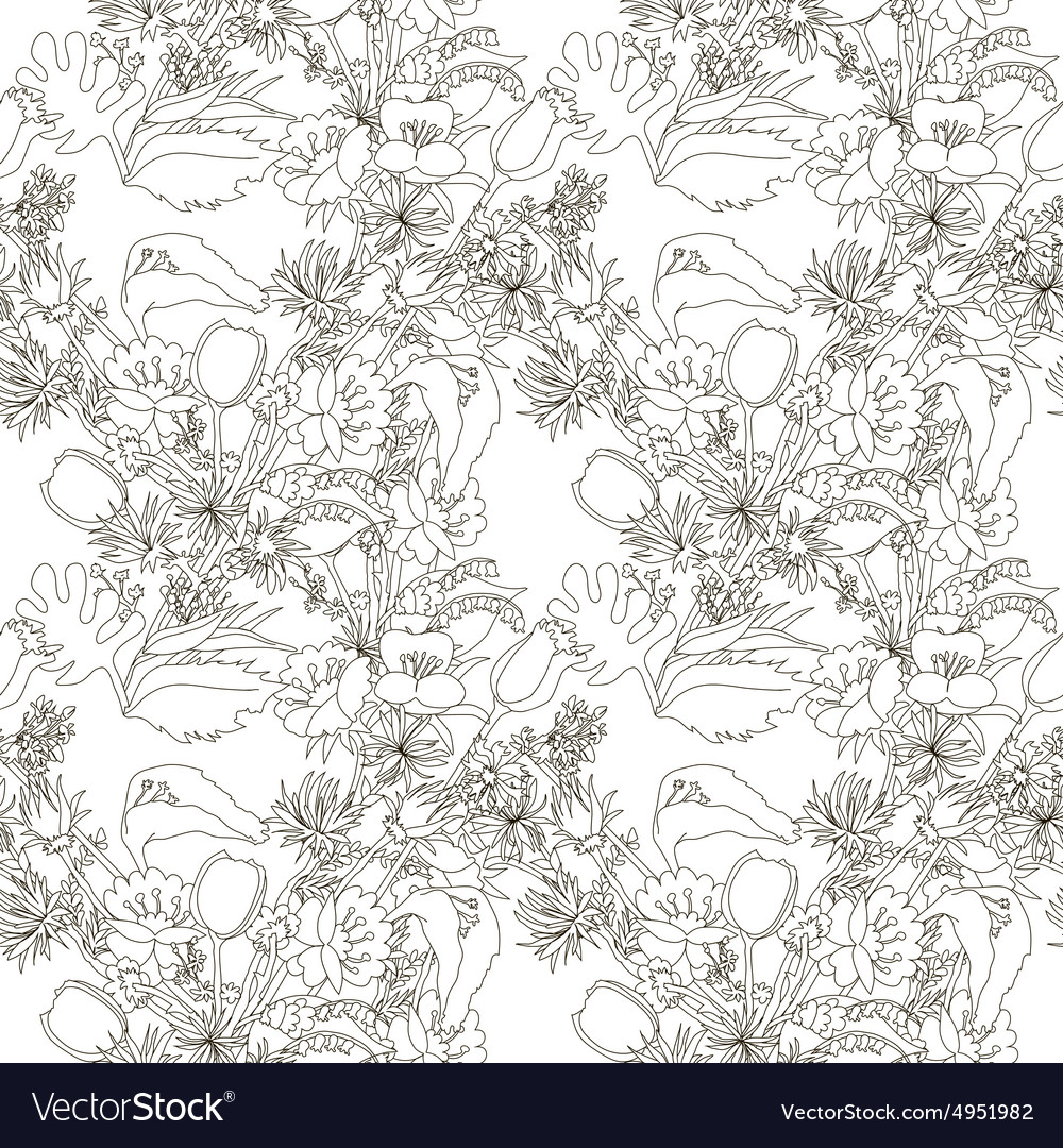 Floral seamless pattern with wildflowers