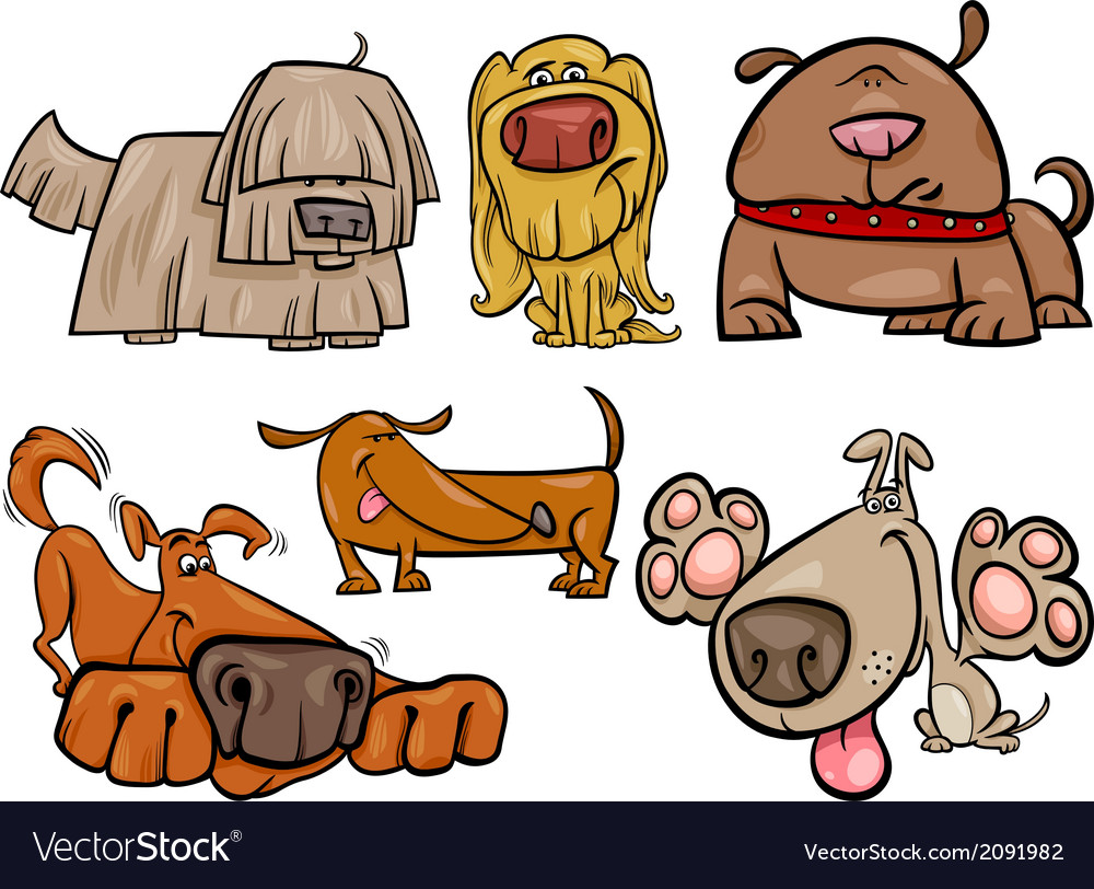Funny dogs set cartoon