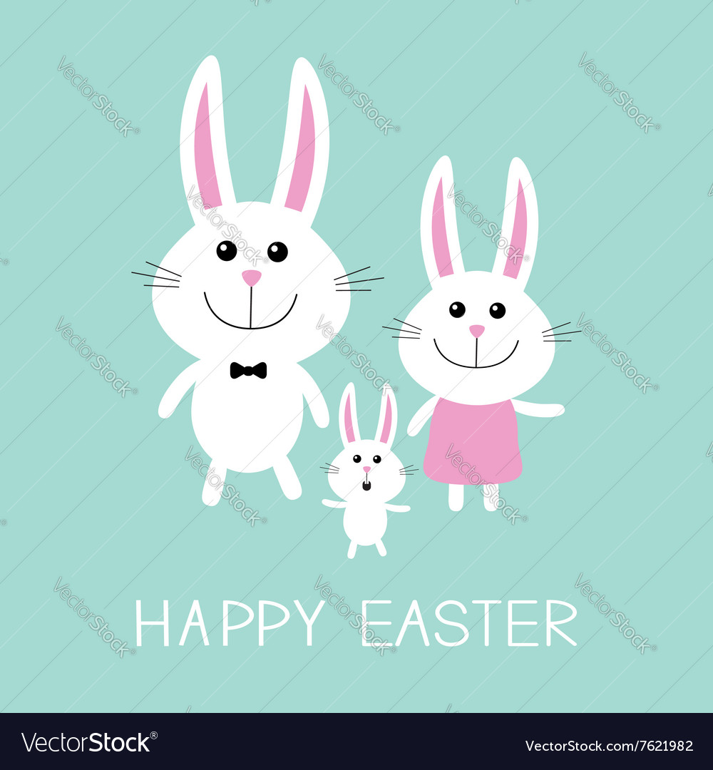 Happy easter bunny rabbit familyfather mother and