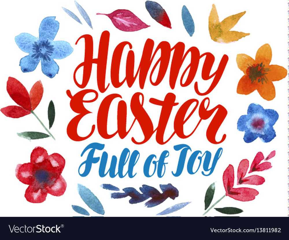 Happy easter greeting card lettering