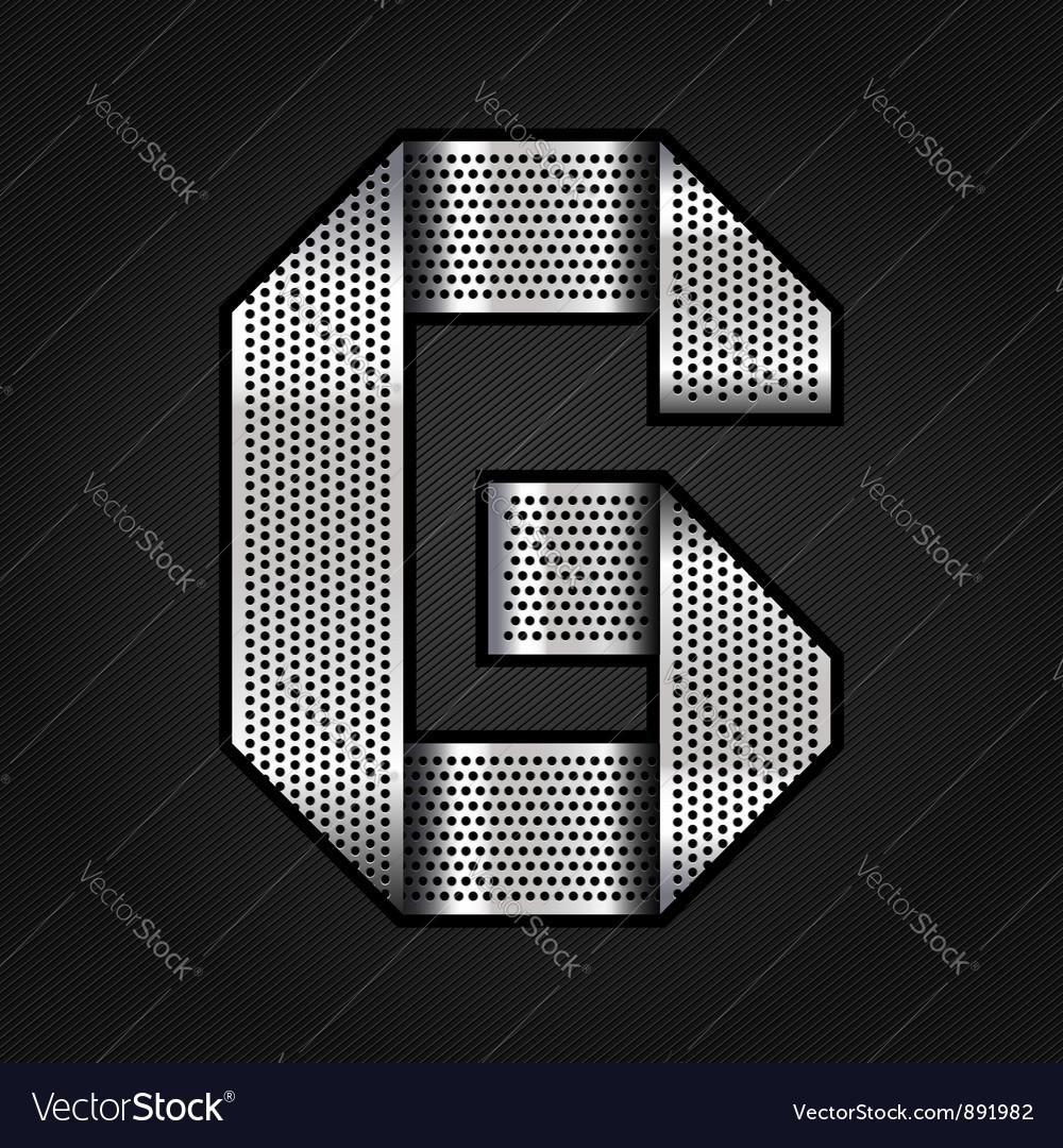 Letter metal chrome ribbon - G vector image