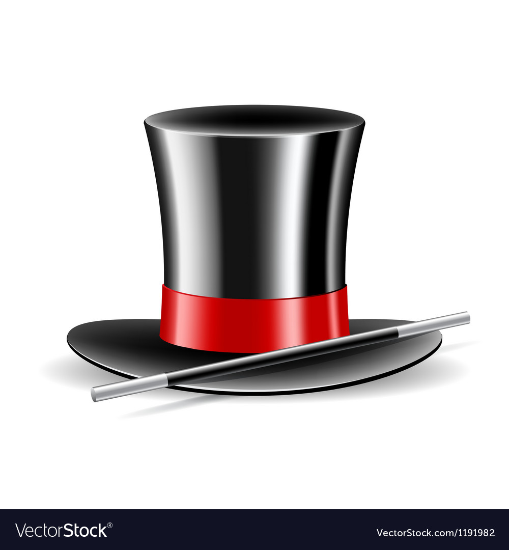 Magic hat and magic wand on white background vector image