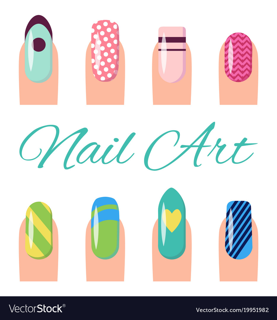 Nail Art Collection Poster Vector Image