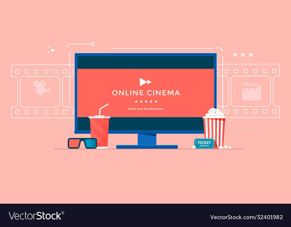 Online cinema flat banner concept with tv