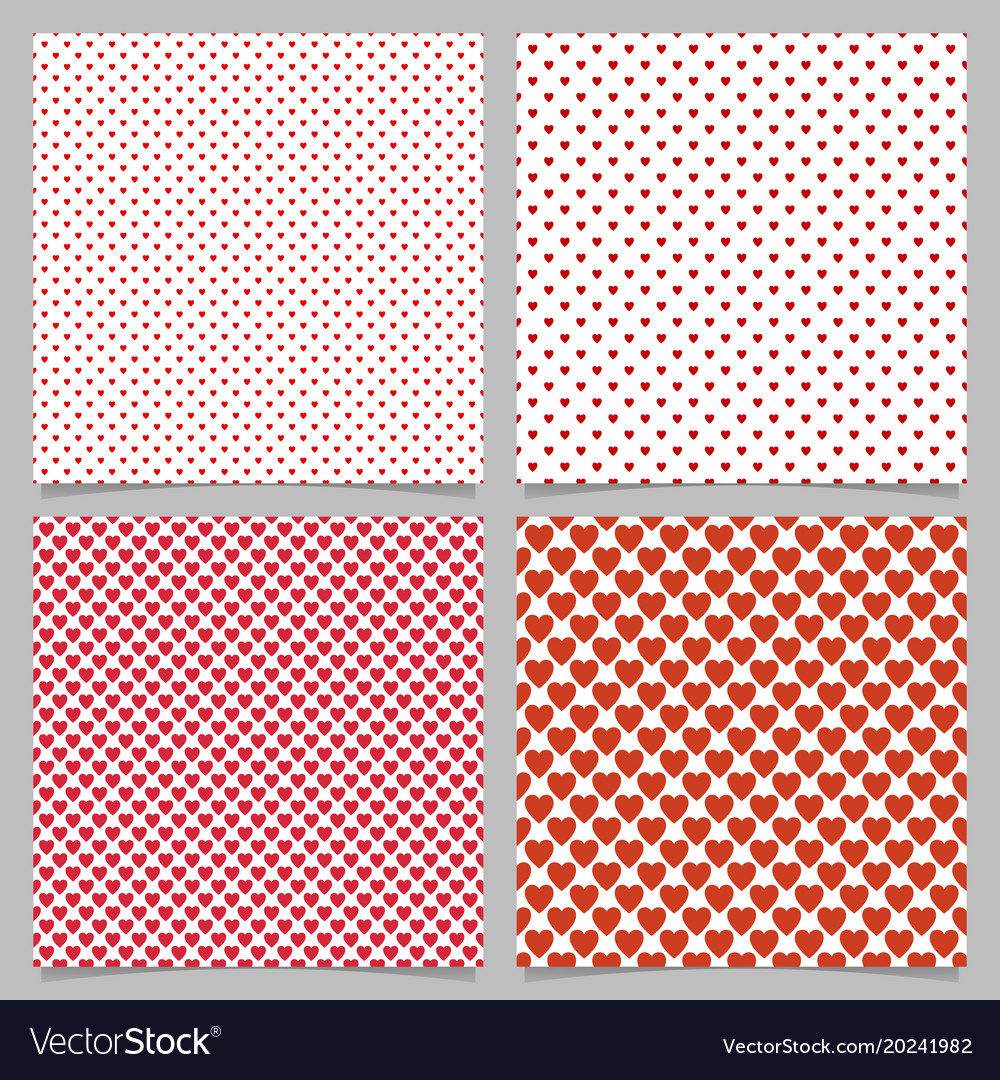 Repeating heart pattern background set - love vector image
