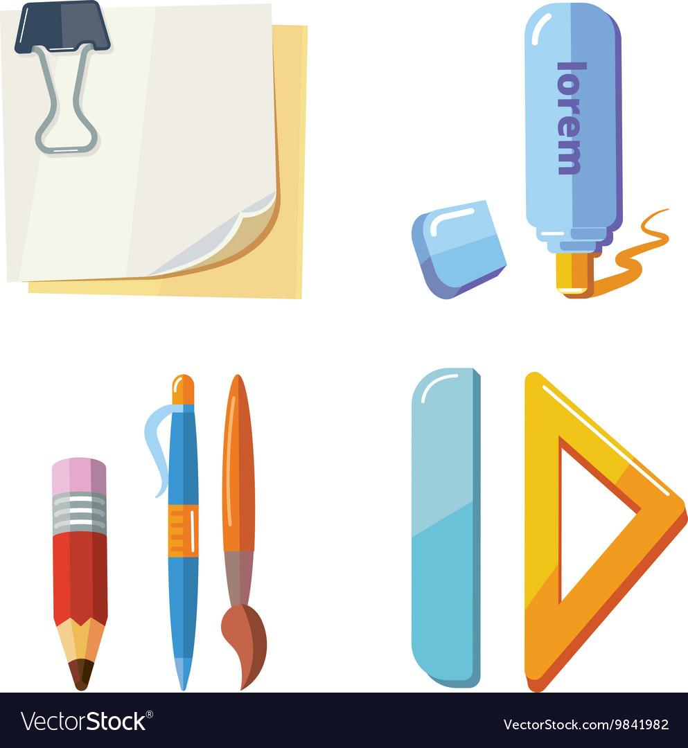 Set of cartoon stationery vector image