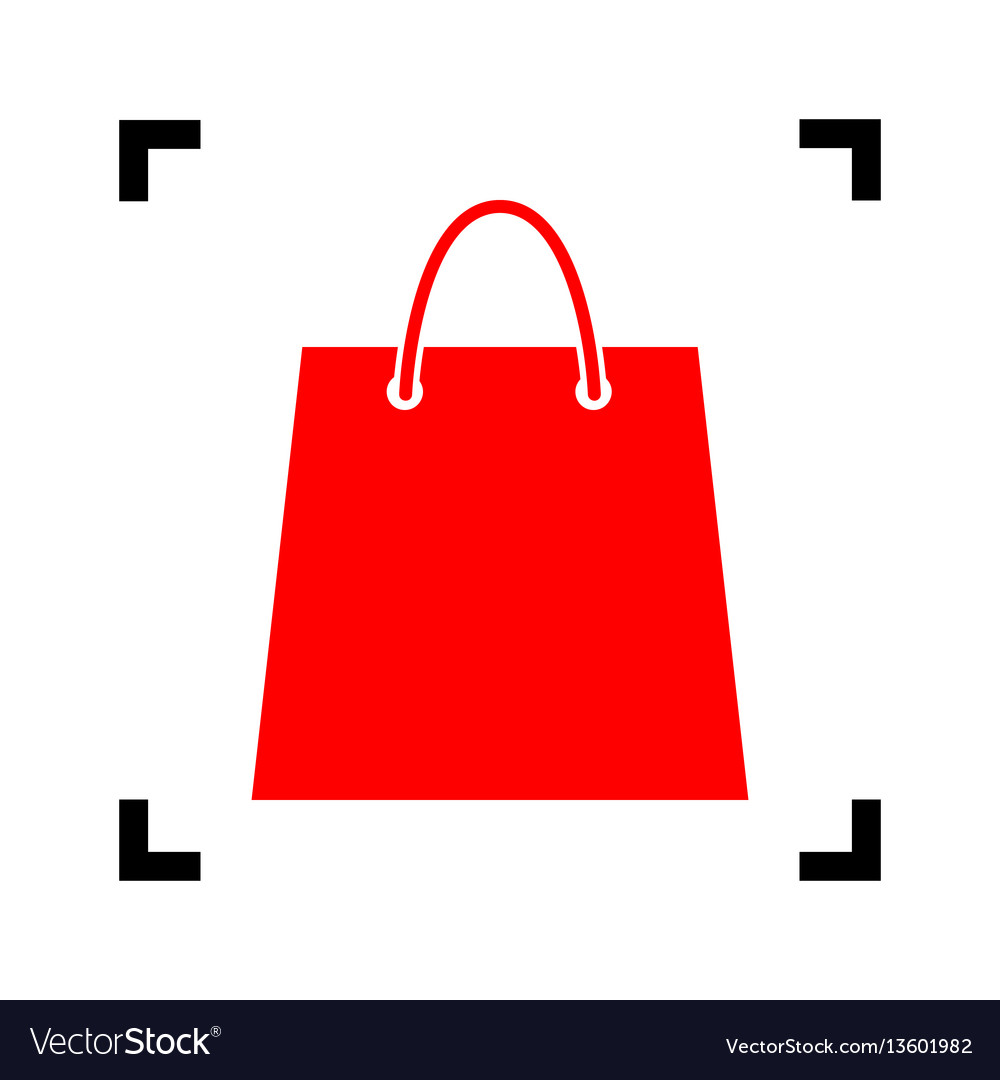 Shopping bag red icon inside