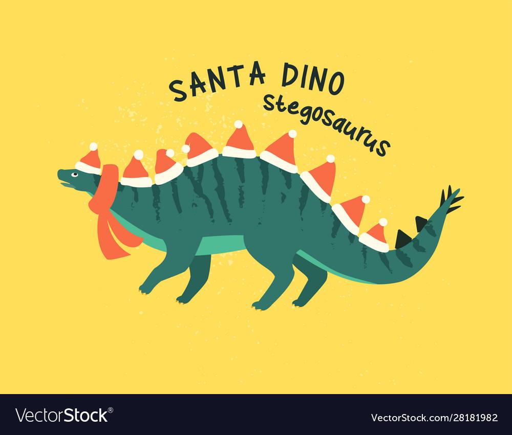 Stegosaurus dressed as santa claus