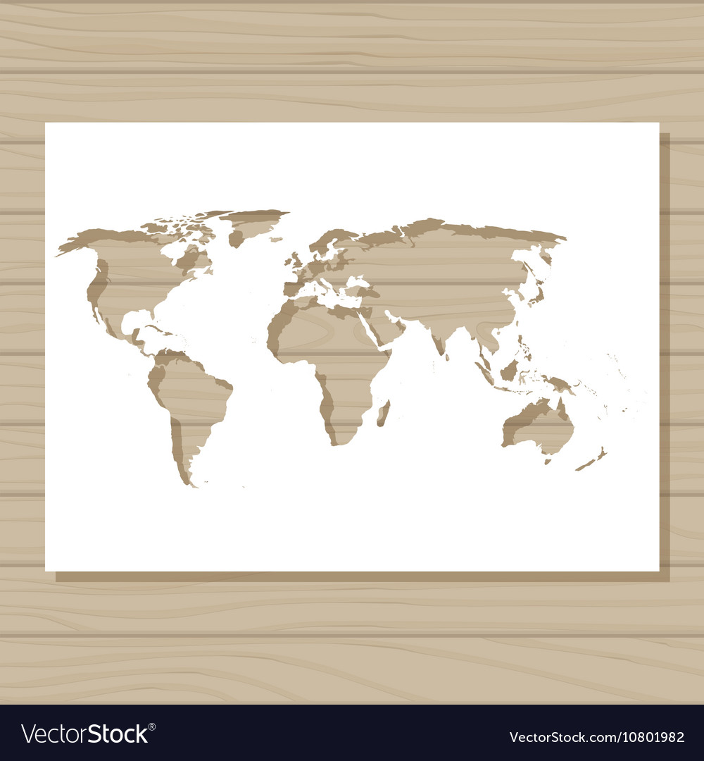 Stencil Template Of World Map On Wooden Background