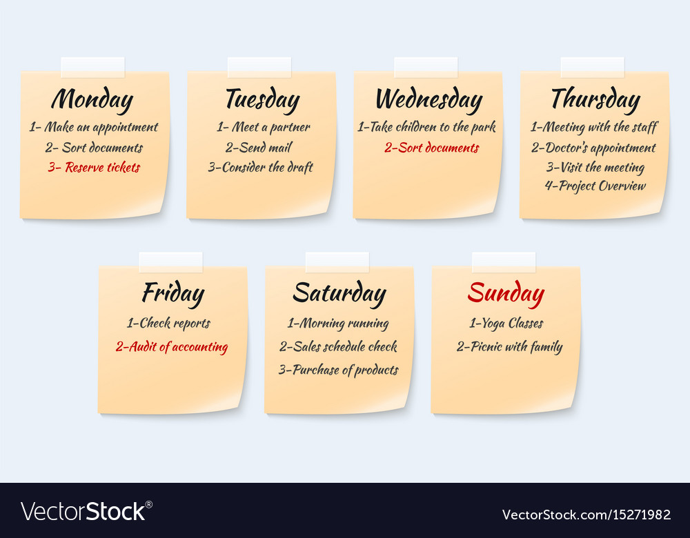 Weekly job plan on sticky notes ugent work event
