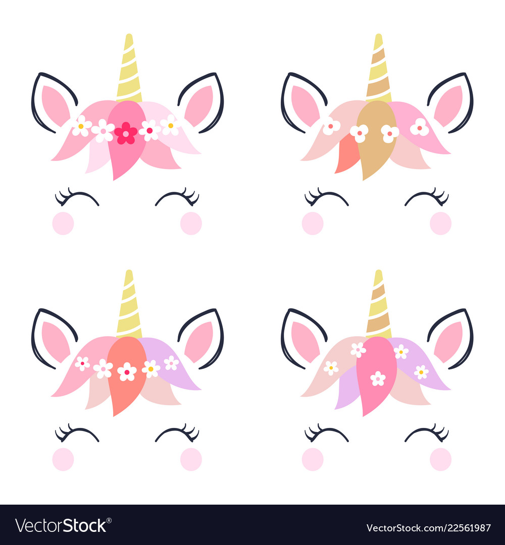 Adorable unicorn heads isolated on white