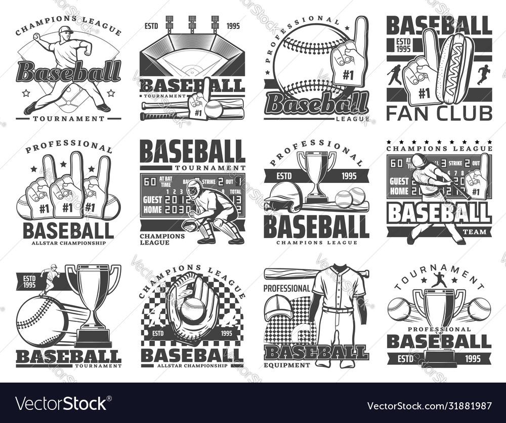 Baseball sport ball bat stadium and player icons