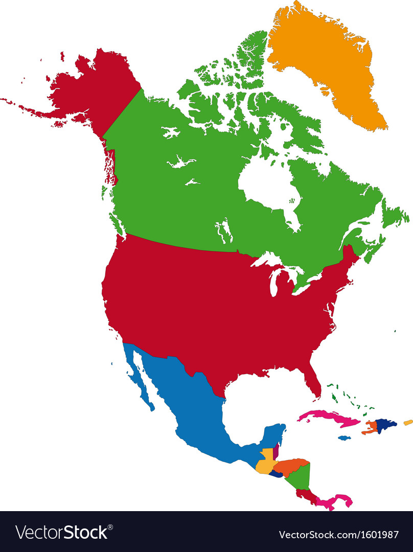 Colorful North America map Royalty Free Vector Image