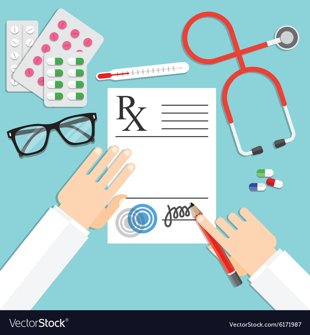 Doctor writing notes on a prescription pad vector image