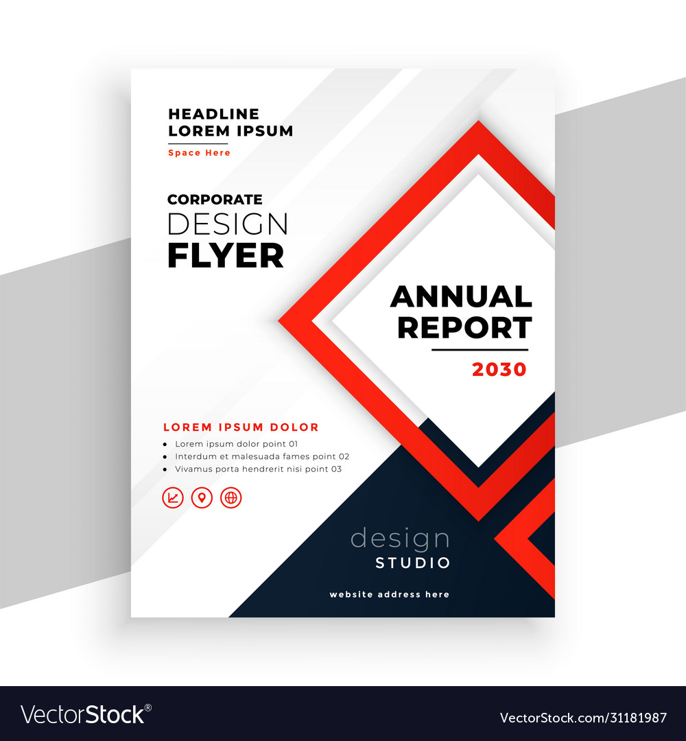 Geometric red modern annual report business flyer