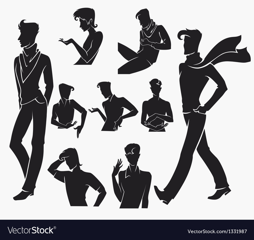 Large collection of men silhouettes