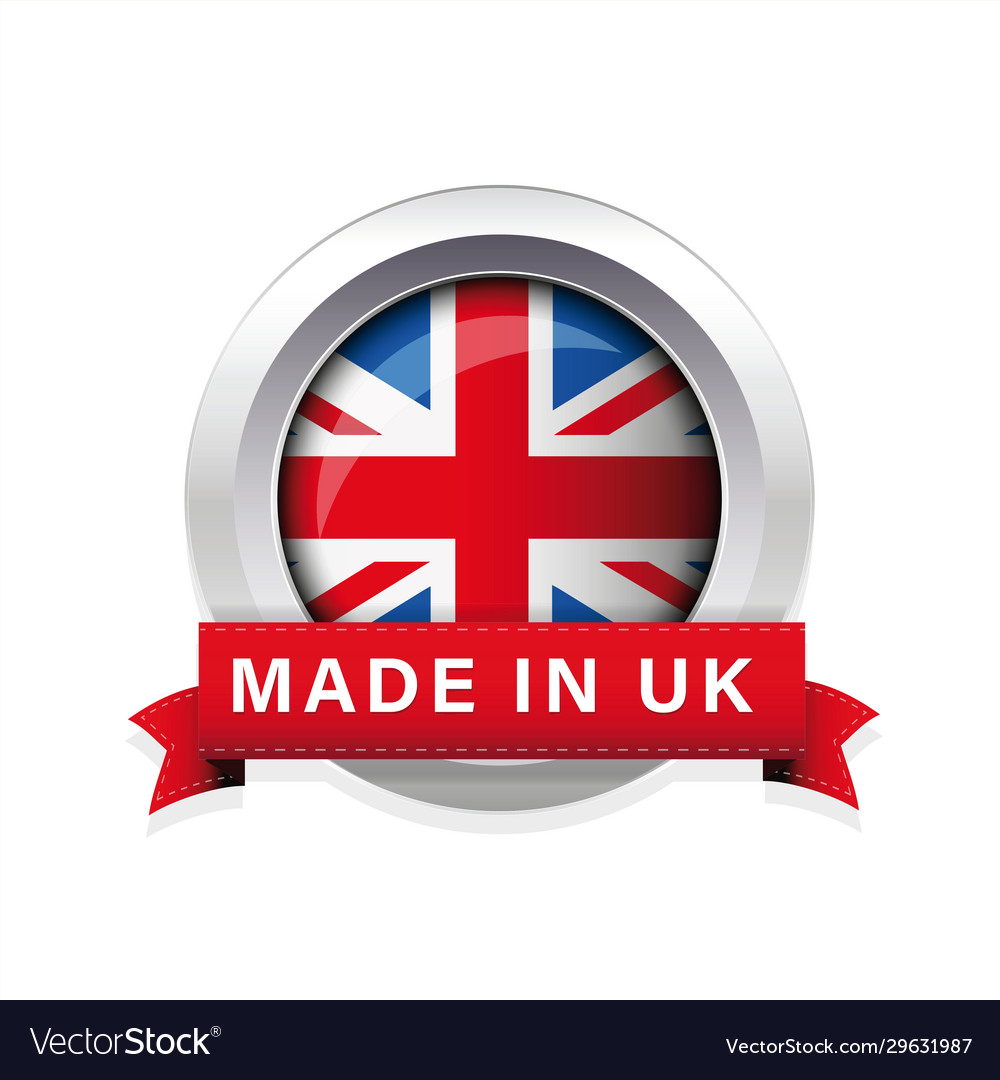 Made in uk flag button badge