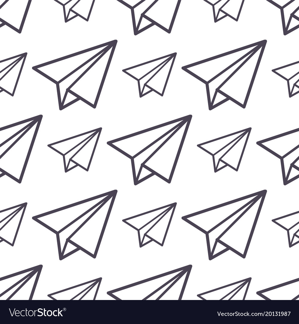 Paper plane icon seamless pattern business