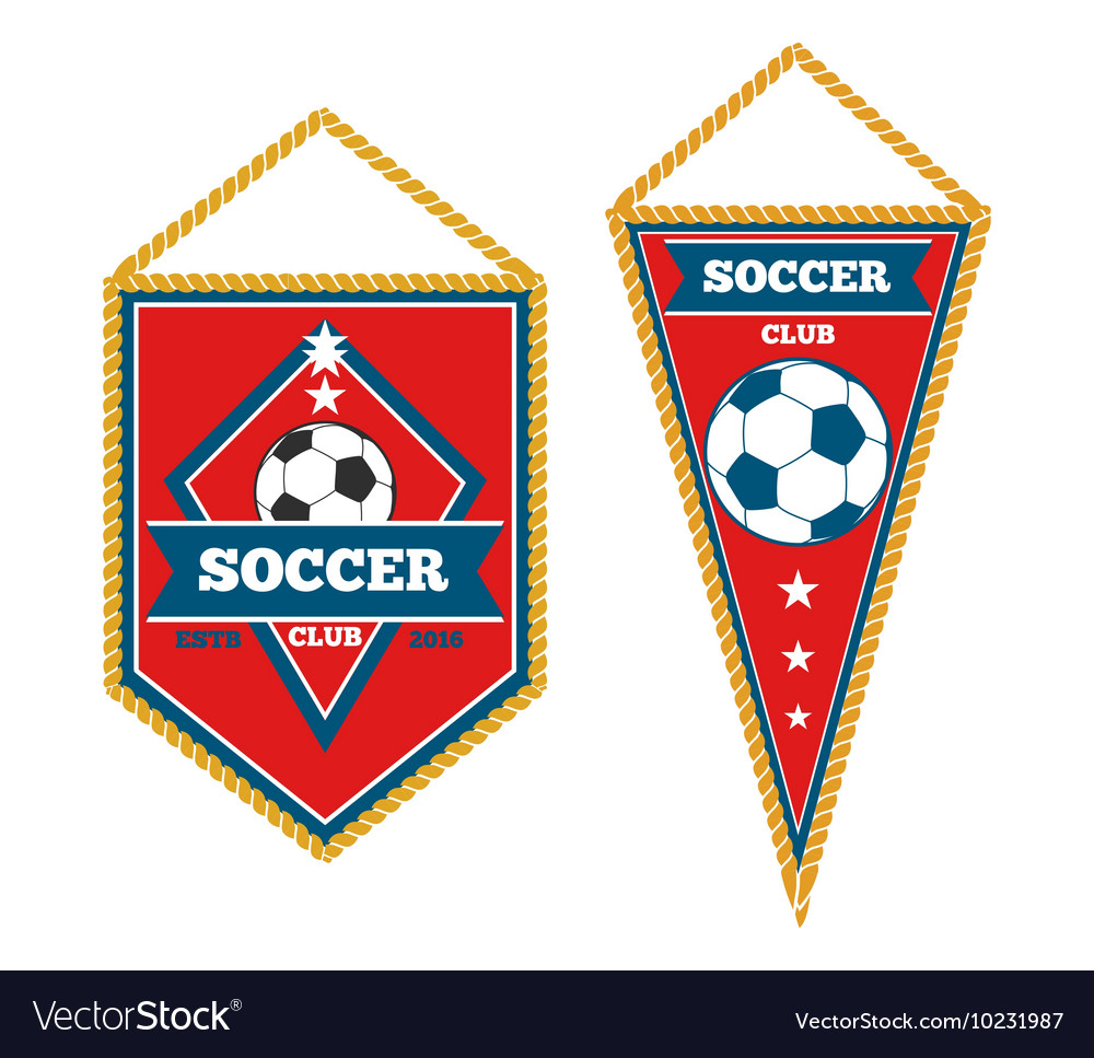 Set of soccer pennants isolated white