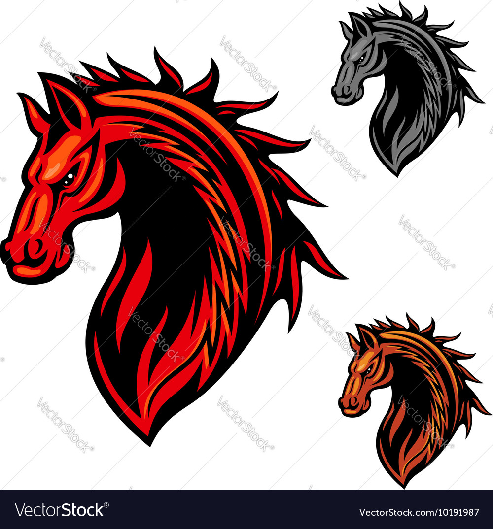 Tribal horse mascot with fire flames ornament