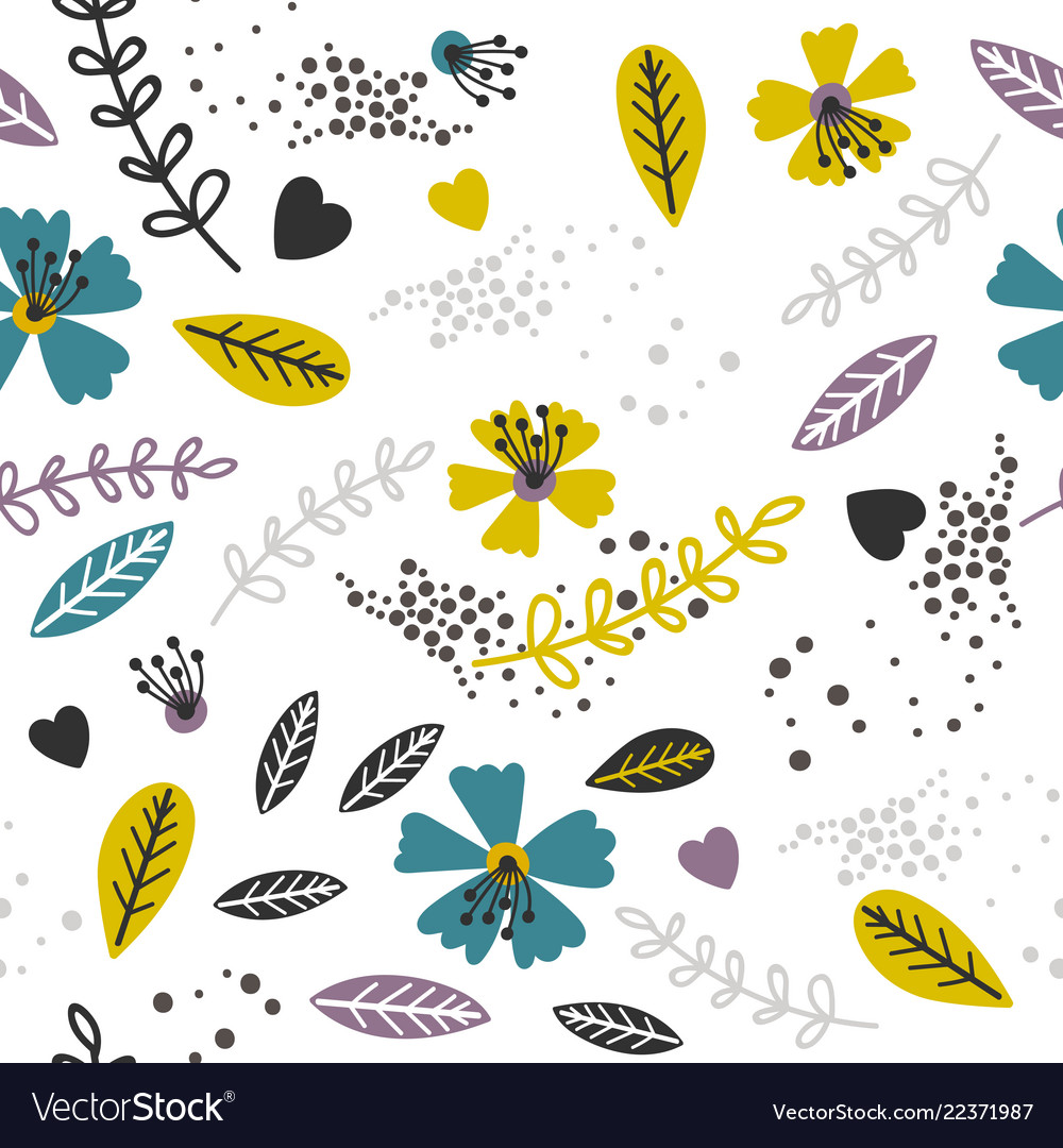 Yellow and lavender floral pattern