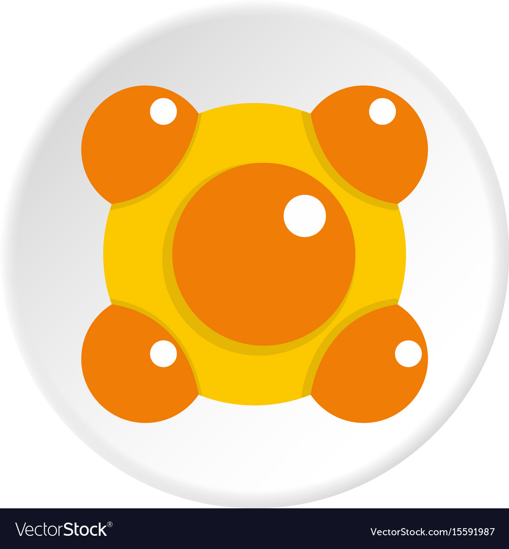 Yellow and orange molecules icon circle vector image