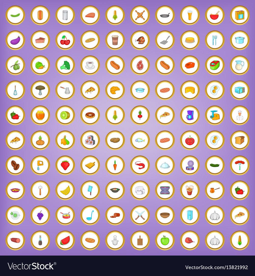 100 kitchen icons set in cartoon style