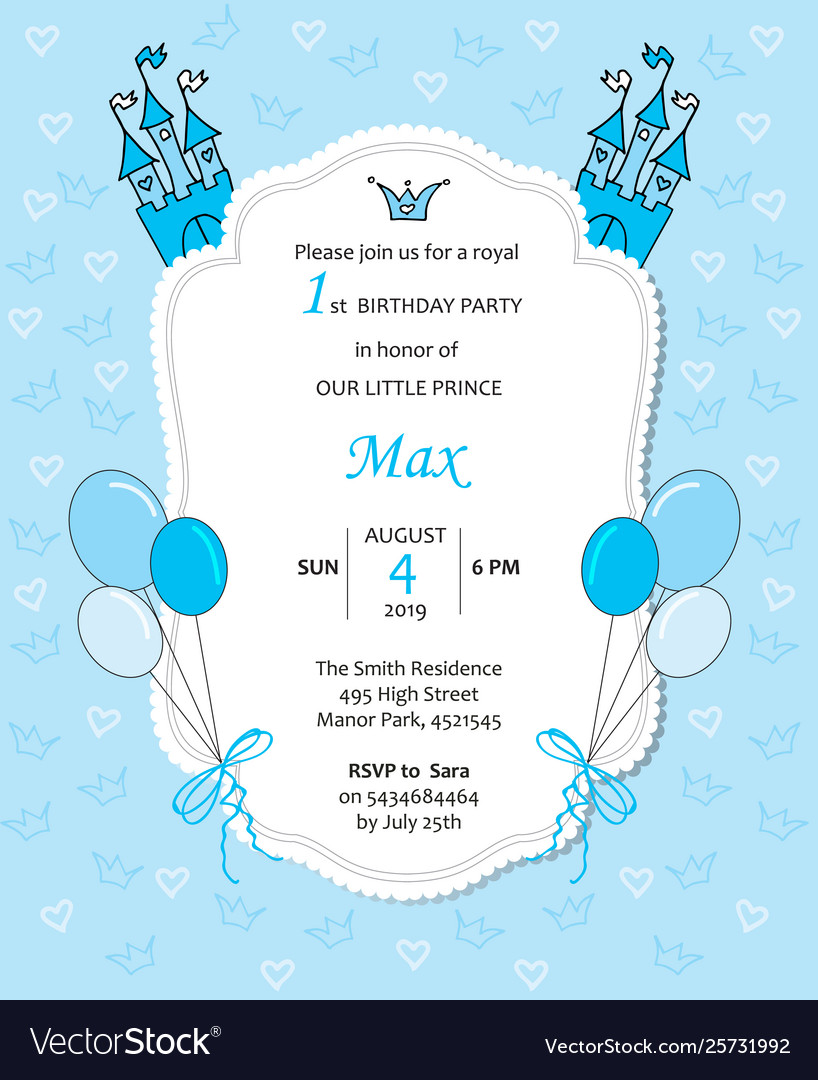 Baboy Royal Birthday Invitation With Balloons