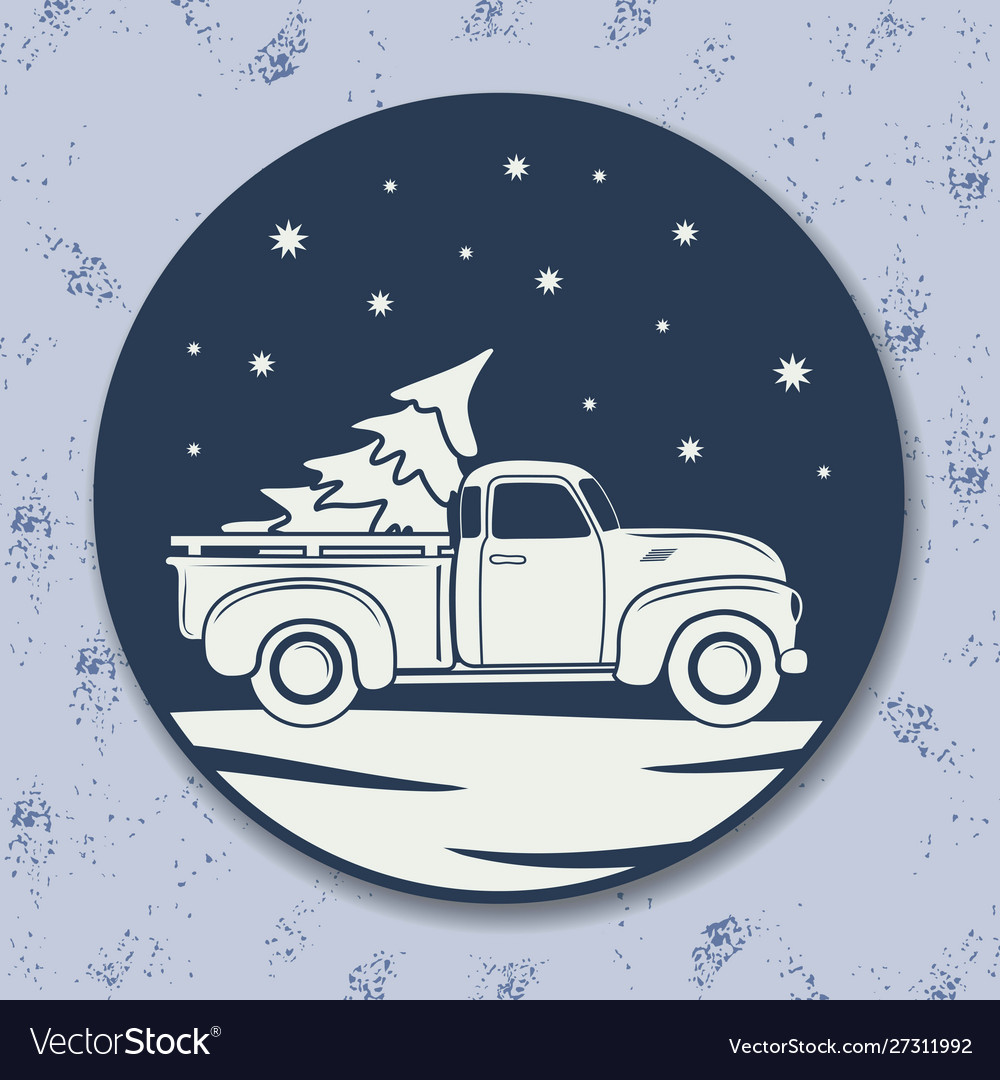 Christmas icon vintage pickup truck