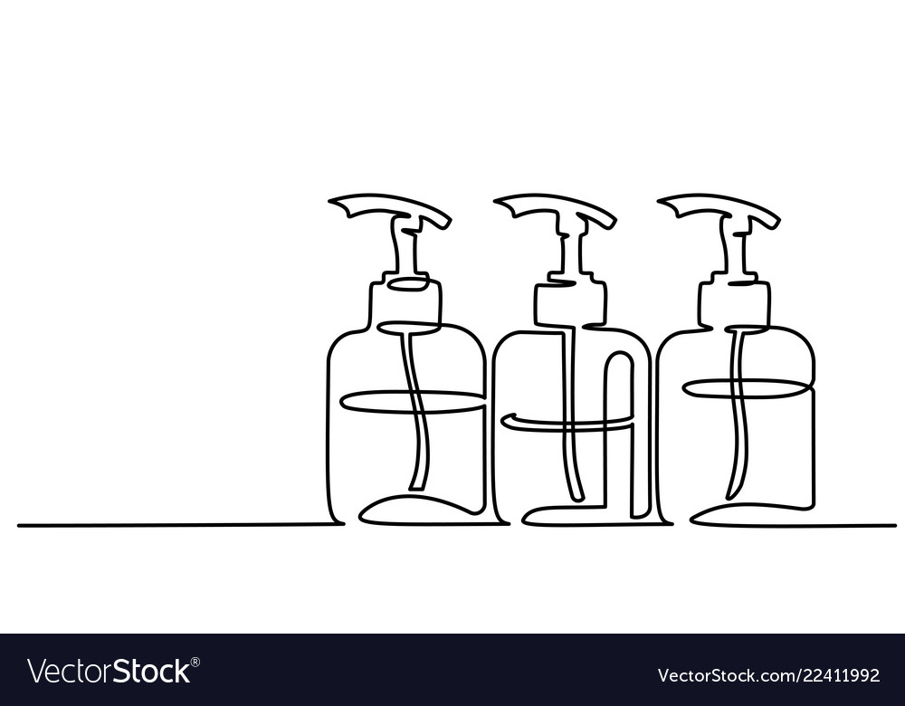 Cosmetic Shampoo Bottles Continuous One Line Draw Vector Image