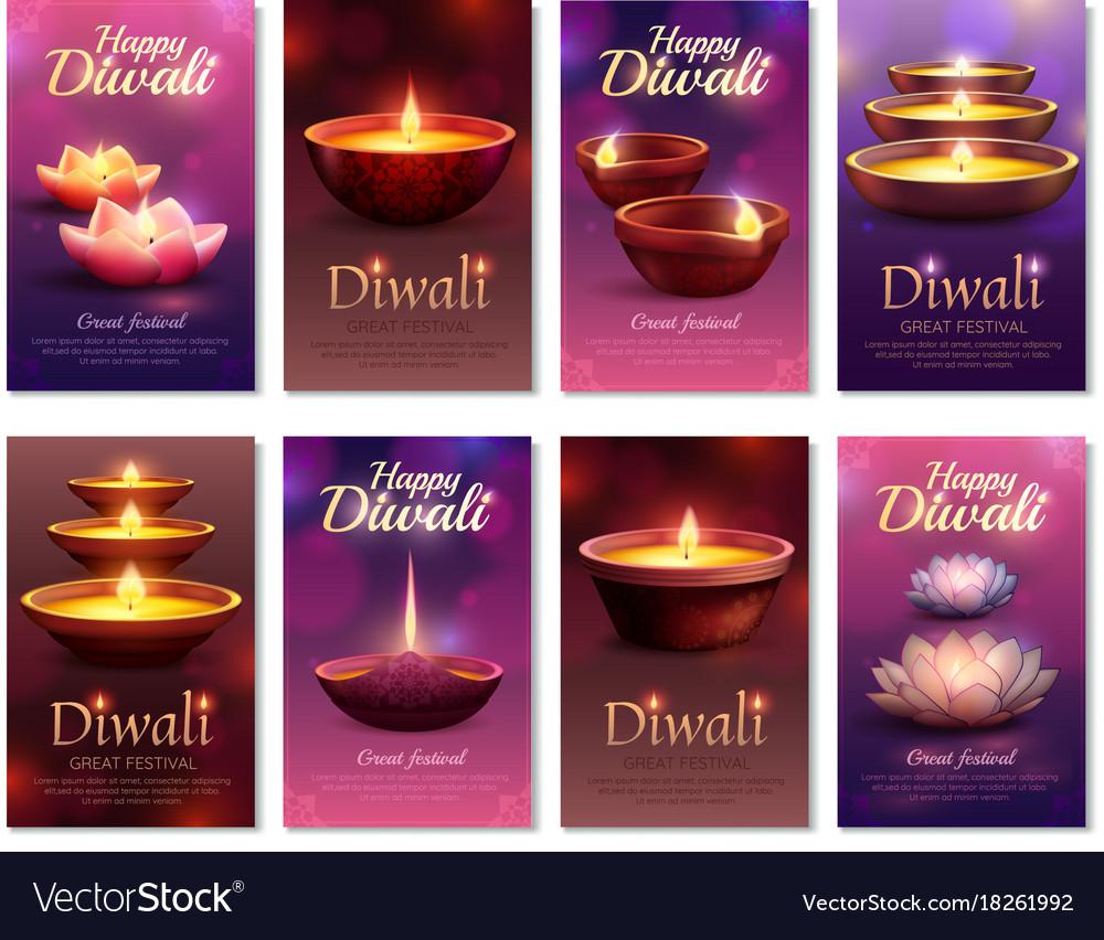 Diwali celebration vertical cards