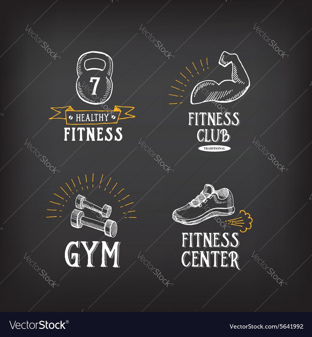 Gym and fitness club logo design sport badge