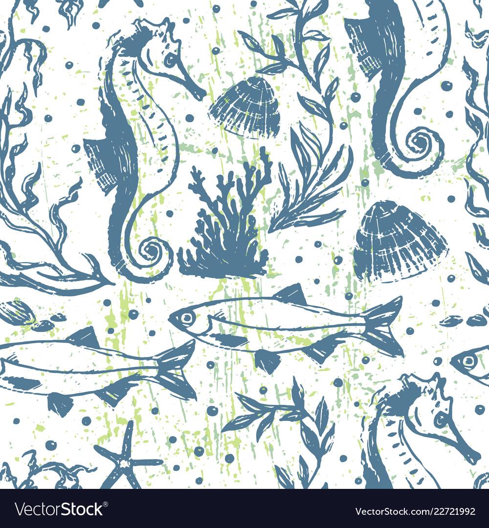 Ink hand drawn marine world seamless pattern
