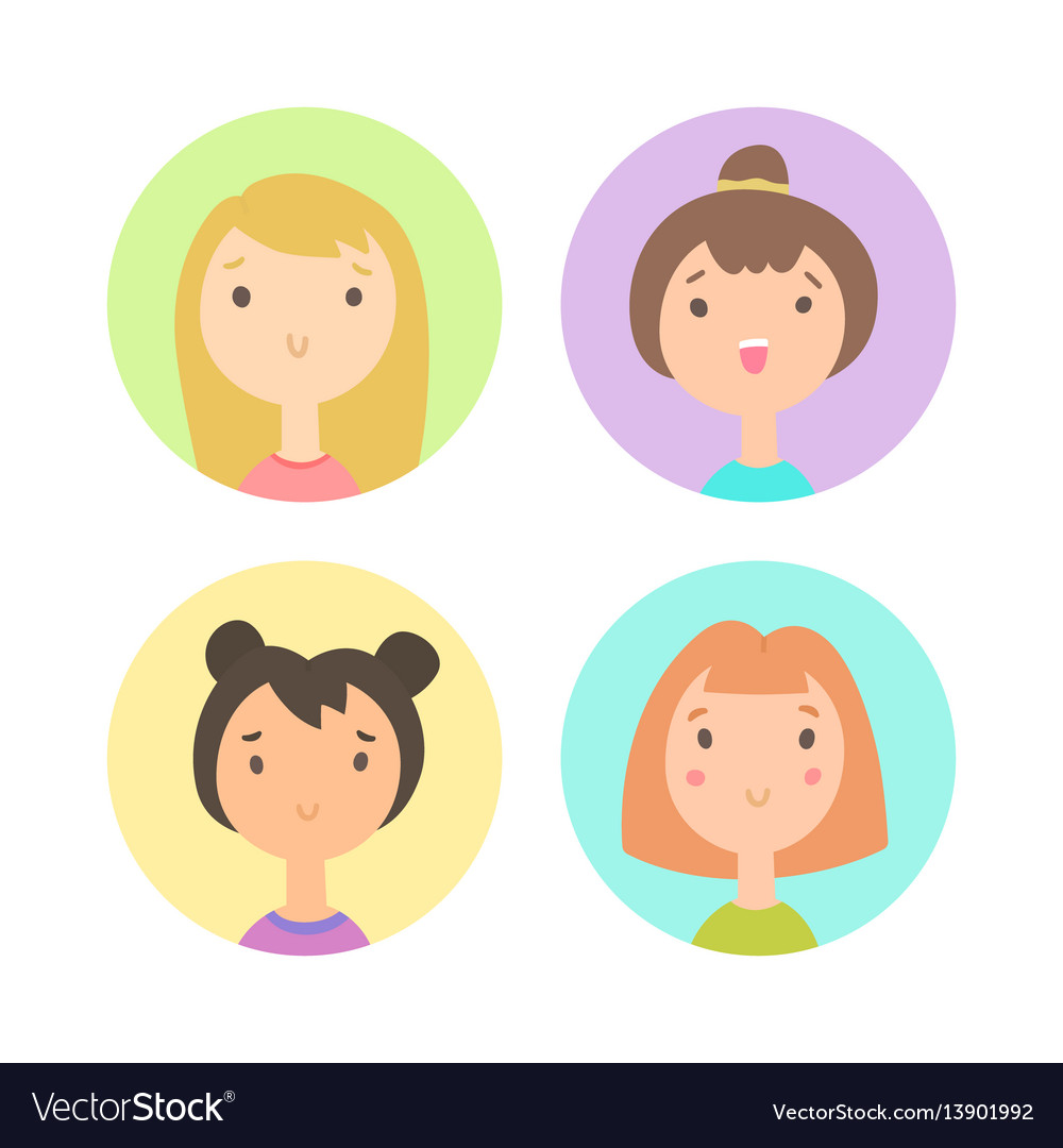 Set of four girls faces