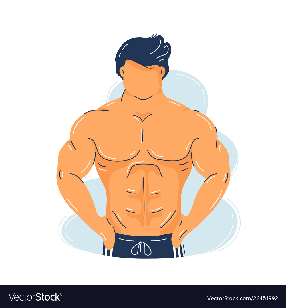 Strong fitness muscular man with perfect body