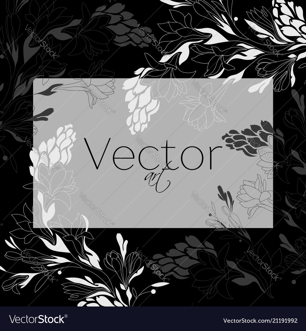 Template design floral art black and white