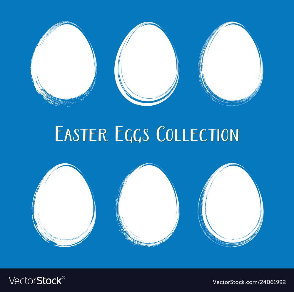 White easter egg silhouettes brush stroke