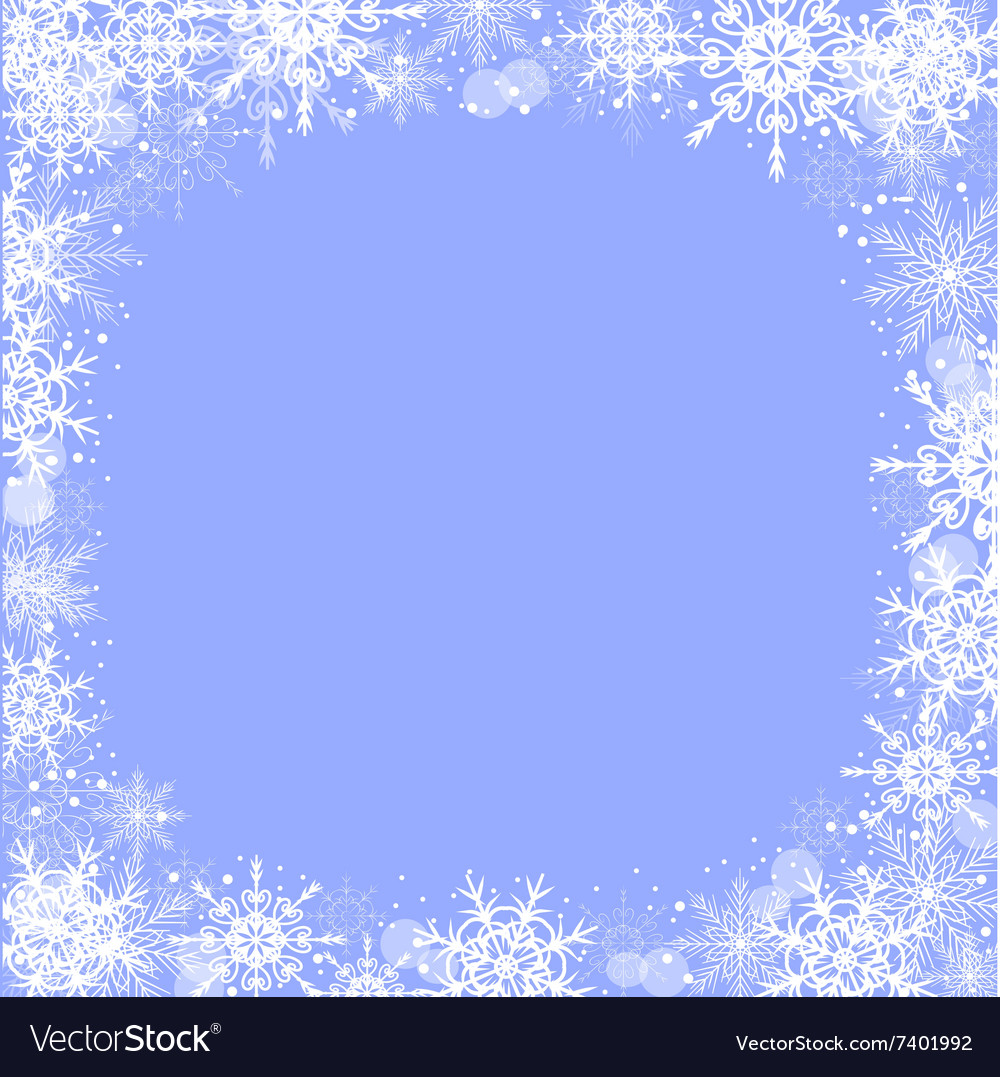 Winter Greeting Card With Snowflakes Frame Vector Image