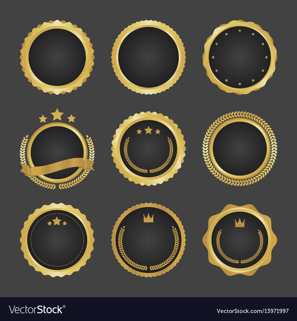 Collection of modern gold circle metal badges