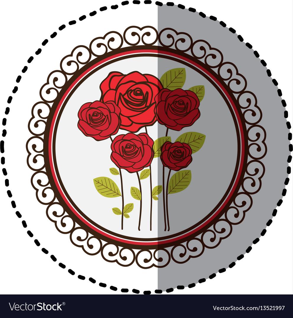 Color decorative emblem with oval roses inside