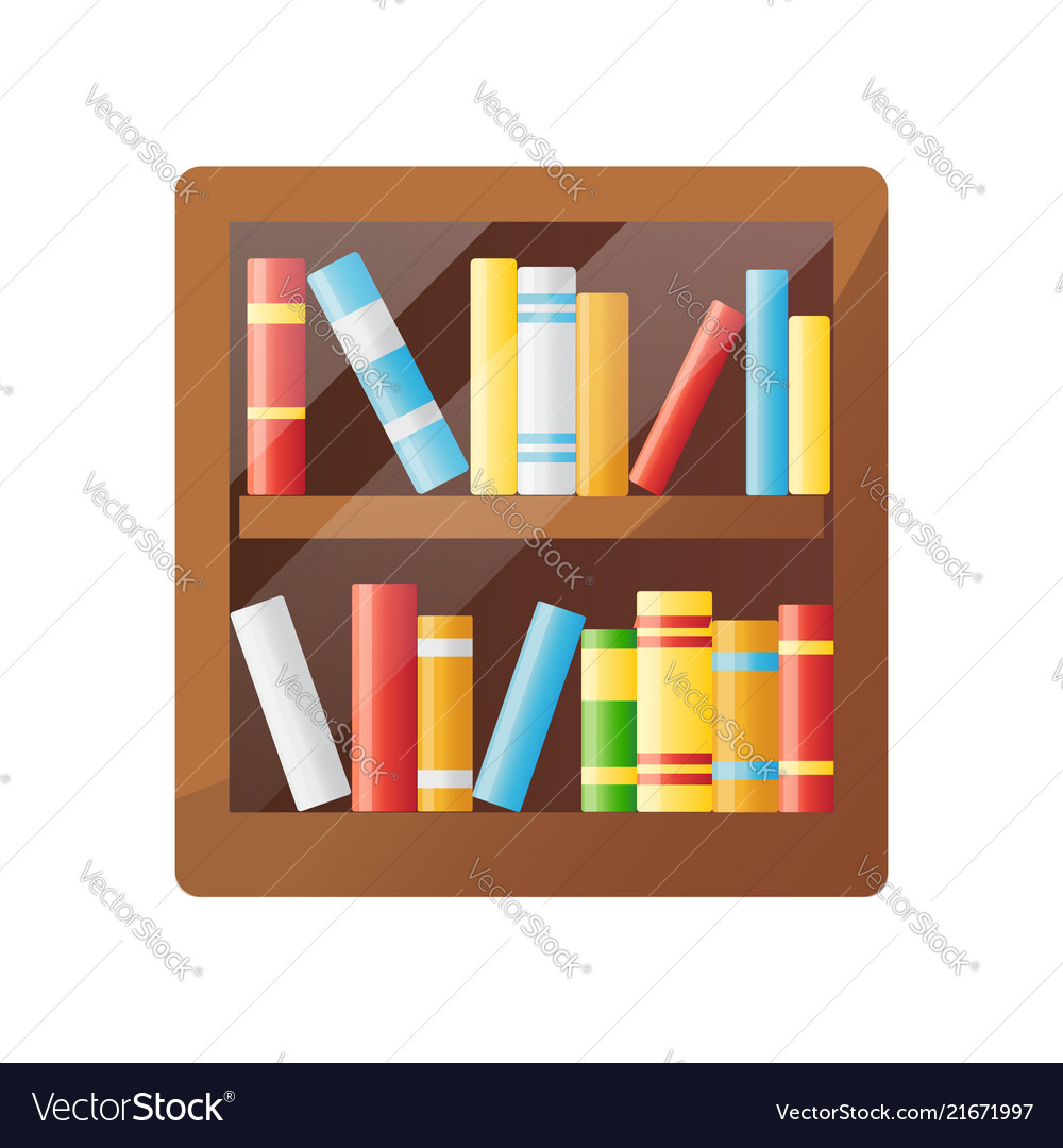 Colorful books on wooden shelf bookshelf icon
