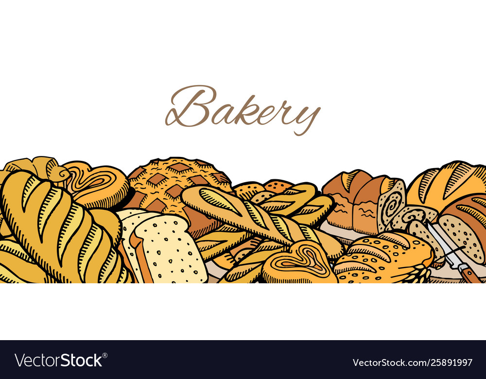 Hand drawn sketch baked bread background