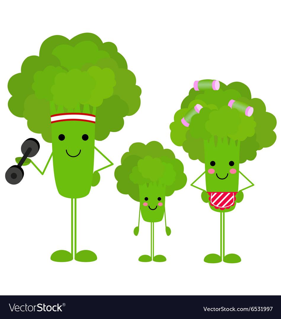 healthy family broccoli royalty free vector image vectorstock